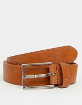 Asos Design DESIGN smart faux leather slim belt in tan