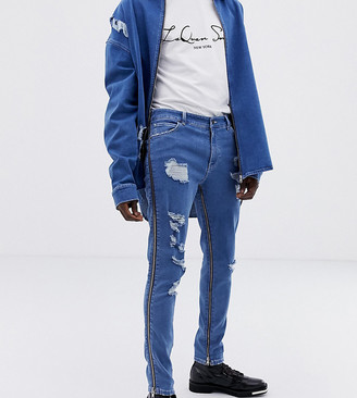 Asos Design DESIGN x LaQuan Smith skinny jeans with zip detail-Blue