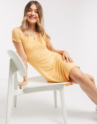 Pimkie notch front jersey mini dress in peach