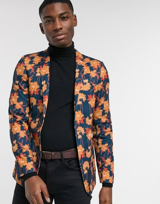 ASOS DESIGN super skinny jersey blazer with floral print in navy
