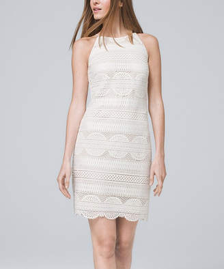 White House Black Market Women's Casual Dresses Ecru - Ecru Scalloped Lace Sleeveless Shift Dress - Women