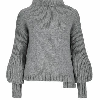 Salanida Puff Sleeve Alpaca Blend Sweater - Grey