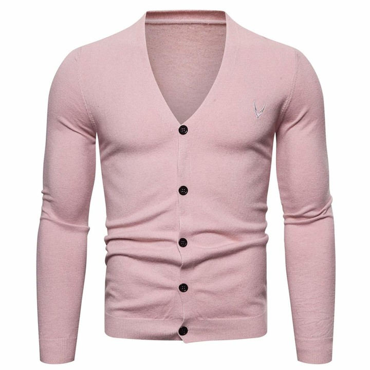 AOWOFS Men's Knitted Cardigan Button Up Jumper Classic V Neck Sweater for Autumn Winter Pink