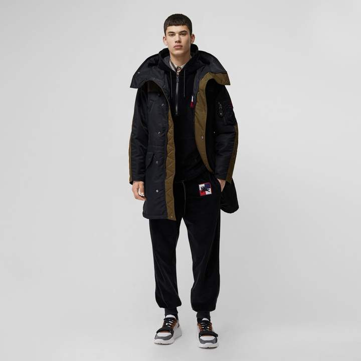 Burberry Colour Block Padded Hooded Parka