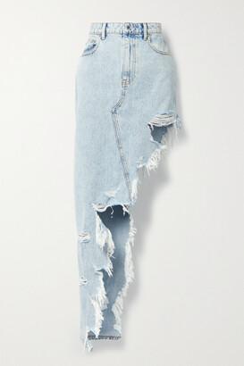 ALEXANDER WANG - Asymmetric Frayed Denim Skirt - Blue