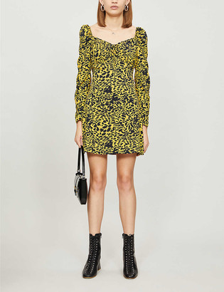 Topshop Animal-print crepe mini dress