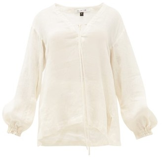 Fil De Vie Essaouira Balloon-sleeved Linen Top - Cream