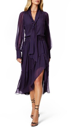 Ramy Brook Rita Print Tie Neck Long Sleeve Dress