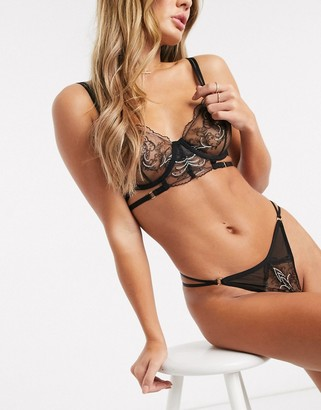 Bluebella Mariana decorative lace thong in black