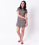 Kling Retro Style Navy & White Dot Cherries Short Sleeve Flare Dress