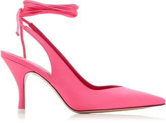 ATTICO Women's Venus Lace-Up Satin Pumps - Pink - Moda Operandi