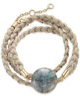 INC International Concepts Gold-Tone Semi-Precious Stone Braided Wrap Bracelet, Only at Macy's