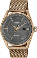 Citizen Drive from Eco-Drive Men's Rose Gold-Tone Stainless Steel Mesh Bracelet Watch 42mm BM6983-51H