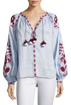March 11 Embroidered Hi-Lo Linen Blouse