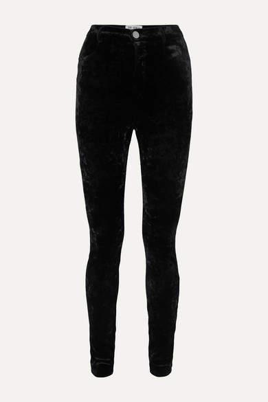 ATTICO Stretch-velvet Skinny Pants - Black