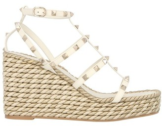Valentino Rockstud Wedges with cage-effect straps