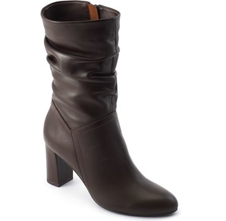 David Tate Mid-Shaft Leather Slouch Boots - Velvet