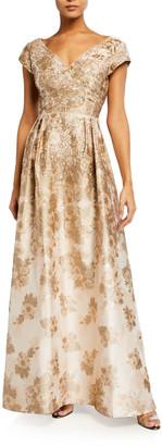 Aidan Mattox V-Neck Princess Seam Metallic Jacquard Gown