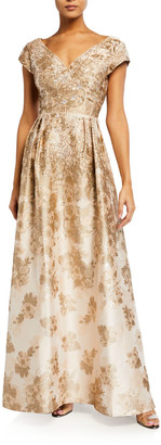 Aidan Mattox V-Neck Princess Seam Metallic Jacquard Gown