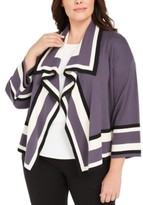 Anne Klein Plus Size Colorblocked Cardigan Sweater