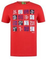 HUGO BOSS Tee Cotton Logo Screen Print Tee L Open Red