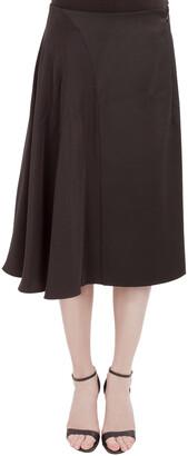3.1 Phillip Lim Black Wool Asymmetric Draped Silk Trim A Line Horizon Skirt M