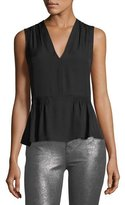 Rebecca Taylor Sleeveless Georgette Silk V-Neck Top