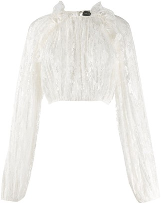 Magda Butrym Ruffled Trim Lace Detail Blouse