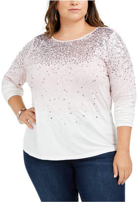 INC International Concepts Inc Plus Size Ombre Sequined Top