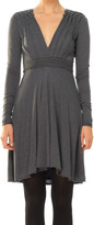 Max Studio Fine Wool Jersey V-Neck Dress With Knotted Details