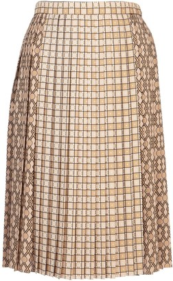 Burberry Contrast Pattern Pleated Skirt