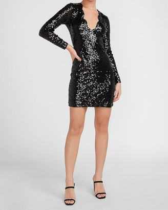 Express Scalloped V-Neck Sequin Sheath Dress