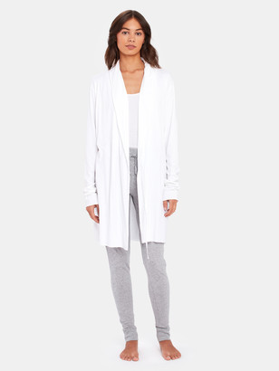 Skin Double Layer Wrap Robe with Attached Belt