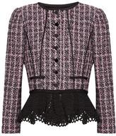 Oscar de la Renta Crochet-trimmed Sequin-embellished Tweed Peplum Jacket - Pink