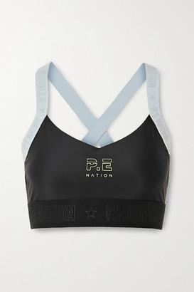 P.E Nation Bar Down Printed Stretch Sports Bra - Black