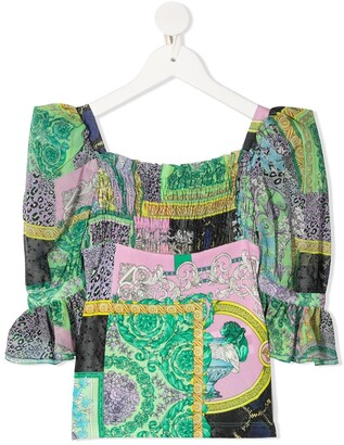 Versace Mixed-Print Blouse