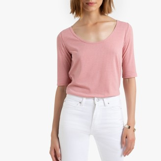 La Redoute Collections T-Shirt with Ballerina-Neck