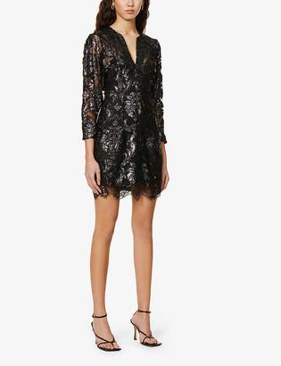 Reiss Kaya floral-metallic woven midi dress