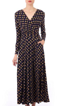 Jolie Moi Geometric Print Cross Over Maxi Dress, Black/Multi