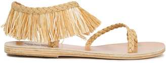 Ancient Greek Sandals Manto Fringed Raffia And Braided Leather Sandals