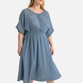 Castaluna Plus Size Embroidered Gathered Lace Cotton Midi Dress