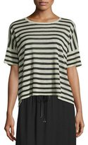Eileen Fisher Short-Sleeve Striped Linen-Blend Top, Natural/Black