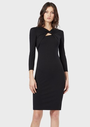 Giorgio Armani Milano-Stitch Jersey Dress With Crossed Neckline