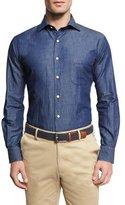 Peter Millar Crown Cool Denim Shirt, Blue