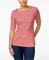 Charter Club Petite Cotton Textured Boat-Neck Top, Created for Macy's