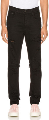 Amiri Suede Patch MX1 Jean in Black & Black | FWRD