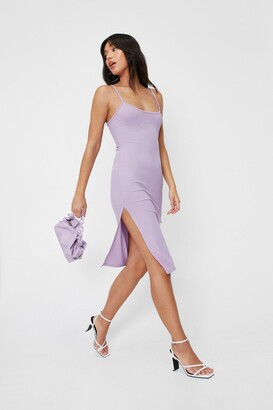 Nasty Gal Womens Square's No Going Back Slit Midi Dress - Purple - 10