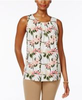 Charter Club Pleated-Neck Floral-Print Top, Only at Macy's