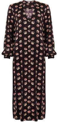 Phoebe Grace Gemma Button Front Midaxi Dress in Black Poppy Print