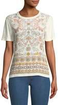 Tory Burch Kayla Garden-Print Linen T-Shirt